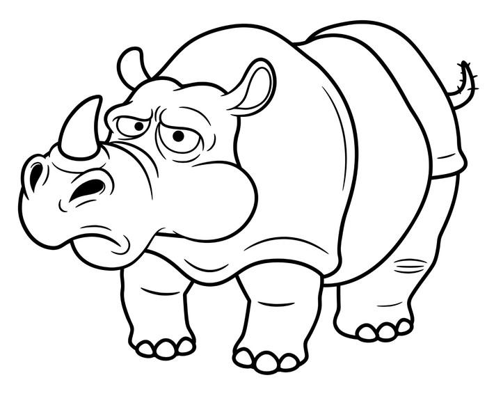Vinilo Pixerstick Ilustración de dibujos animados de rinoceronte ...