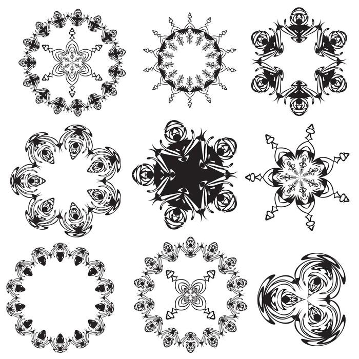 Vinylová Tapeta Sada mandal na bílém pozadí (vektor) - Náboženství