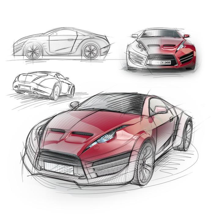 Tableau sur toile dessin de croquis d 39 une voiture de sport sans marque concept car pixers - Croquis voiture ...