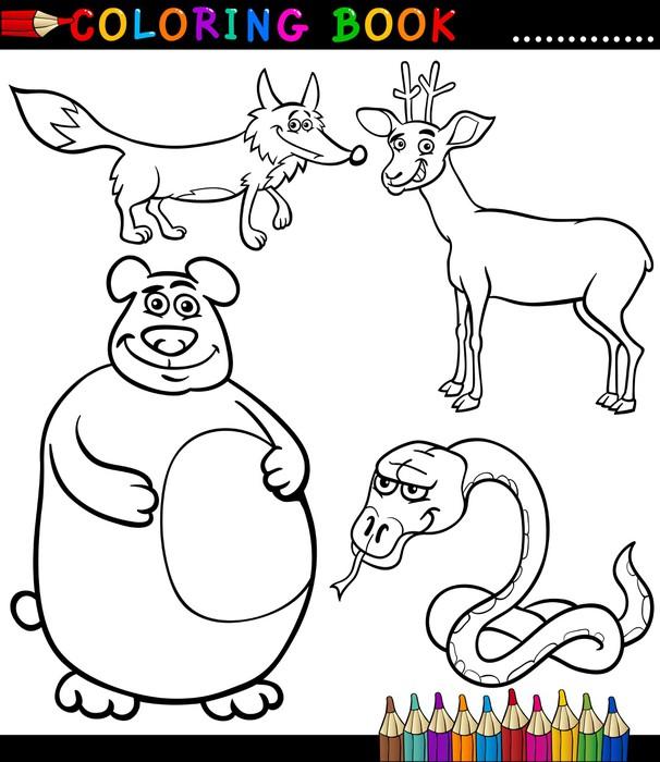 Fotomural Dibujos animados de animales salvajes para colorear Libro ...