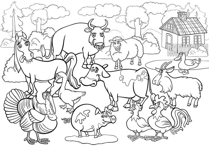 Vinilo Pixerstick Animales de granja de dibujos animados de libro ...