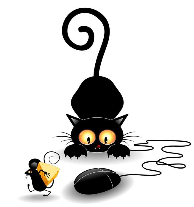 Carta da parati divertente cartone animato con mouse gatto