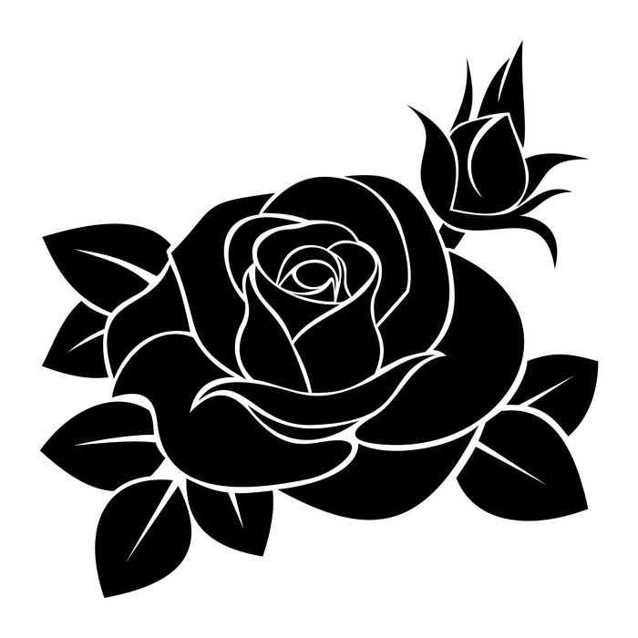 Sticker Pixerstick Silhouette noire de rose. Vector illustration. -