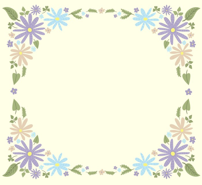 Cute small flowers frame template #1 Wall Mural • Pixers® • We live ...