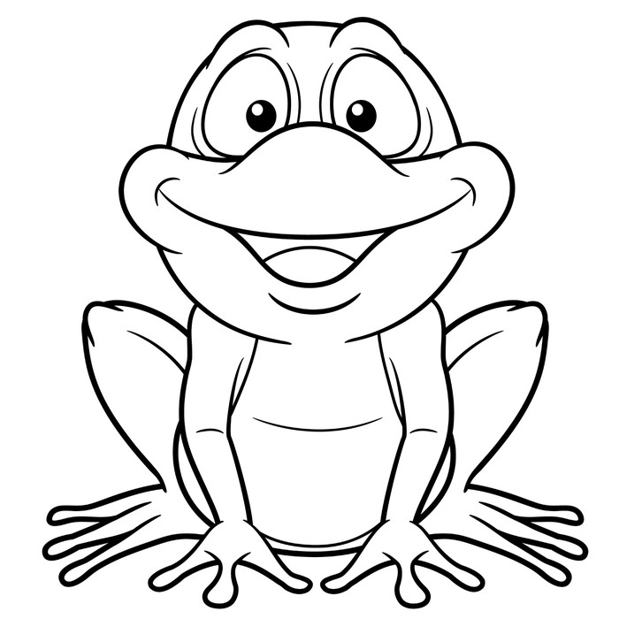 illustration of Cartoon frog - Coloring book Sticker • Pixers® • We ...