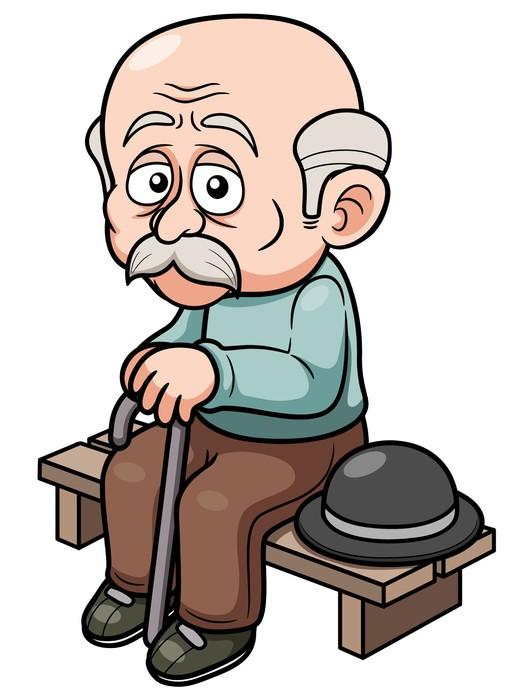 vinilo pixerstick ilustraci n de dibujos animados anciano sentado banco pixers vivimos para. Black Bedroom Furniture Sets. Home Design Ideas
