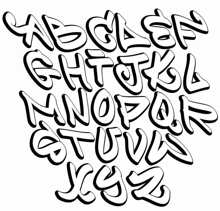 Graffiti Font Alphabet Letters Hip Hop Type Grafitti Design Poster