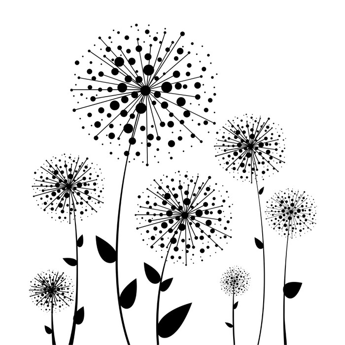 Abstract Flower Vector Dandelion Wall Decal   Styles