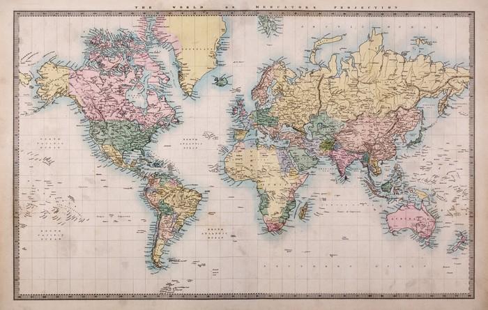 Carta da Parati in Vinile Vecchio Antique World Map su Mercator Projection -