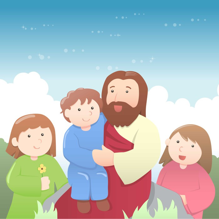 Jesus with kids cartoon wall mural pixers we live to for Cartoon wall mural