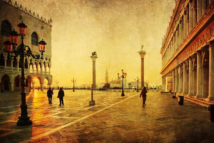 Vinylová Tapeta Nostalgische Ansicht vom Markusplatz in Venedig - Evropská města