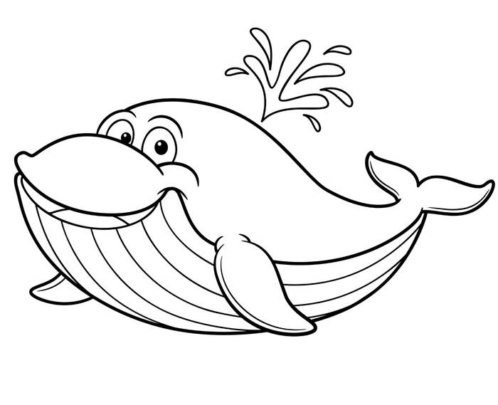 Fotomural Ilustración de dibujos animados ballena - Libro para ...