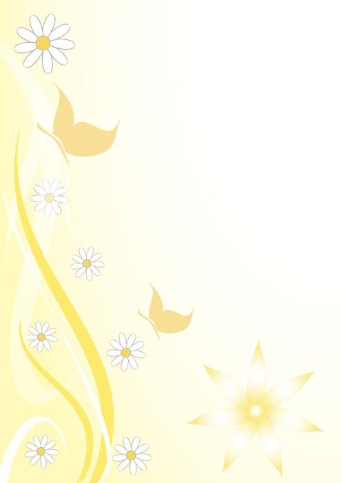 Vinylová Tapeta Sfodo floreale giallo farfalline - Roční období