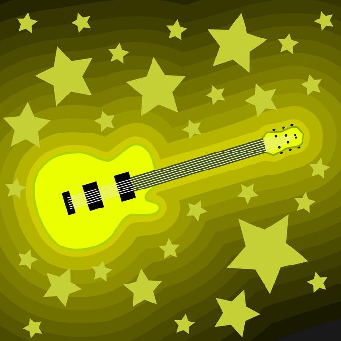 Vinylová Tapeta Rocková hudba na pozadí - kytara hvězda - Témata