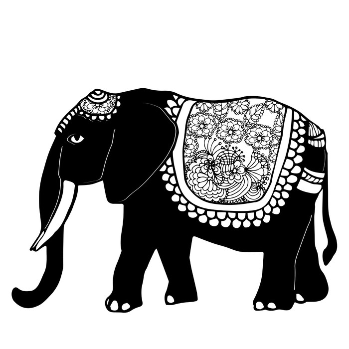 stylized fantasy patterned elephant wall mural pixers we live