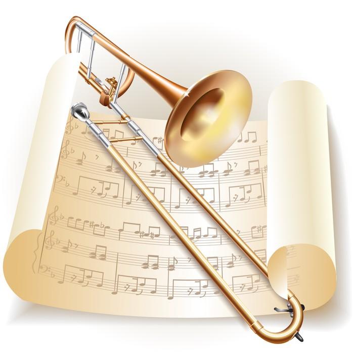 sticker trombone classique avec des notes dans le style r tro pixers nous vivons pour changer. Black Bedroom Furniture Sets. Home Design Ideas