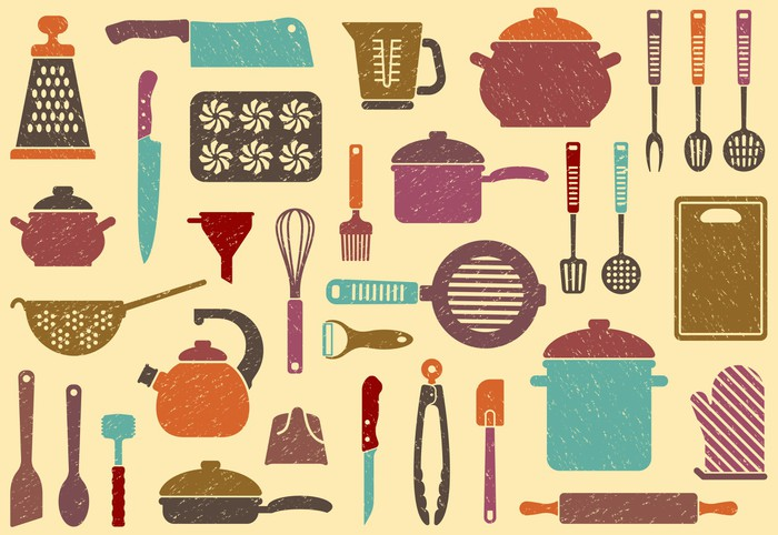 Cuadro en lienzo fondo con utensilios de cocina pixers for Utensilios de cocina fondo