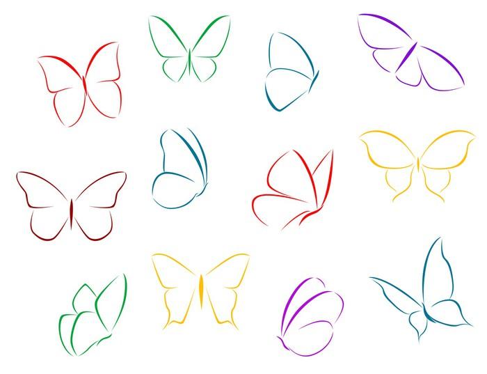 Carta da parati farfalle di colore sagome pixers for Cartamodello papillon