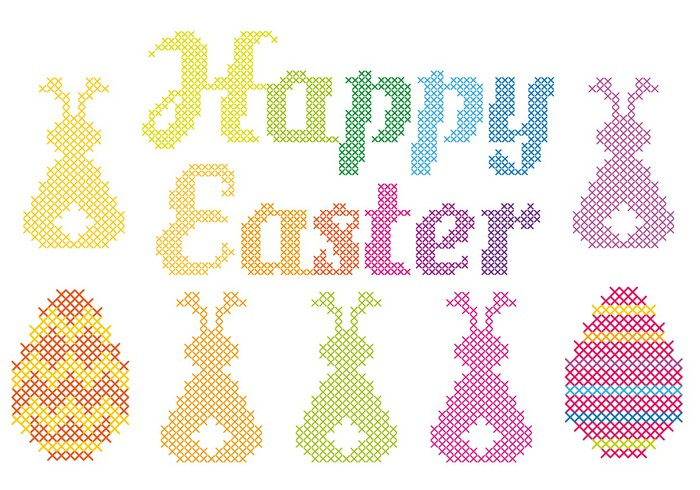 Cross Stitch Wall Mural Of Happy Easter Cross Stitch Vector Wall Mural Pixers