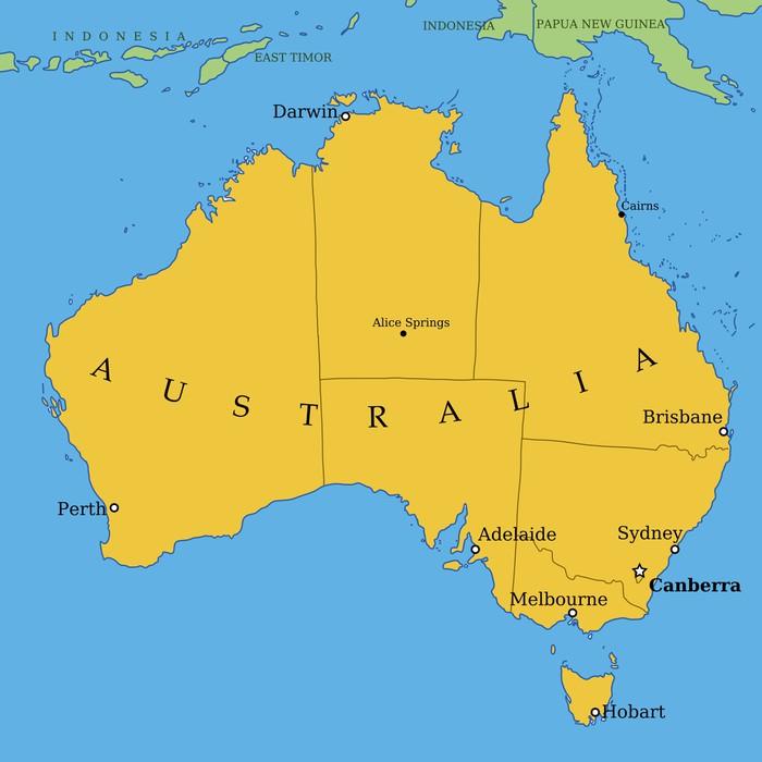 Vinilo Pixerstick Australia mapa con las principales ciudades y ...