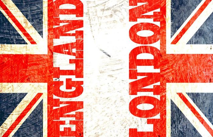 Vinylová fototapeta Angličtina vlajka řez s psaním Londýně, Anglie - Vinylová fototapeta