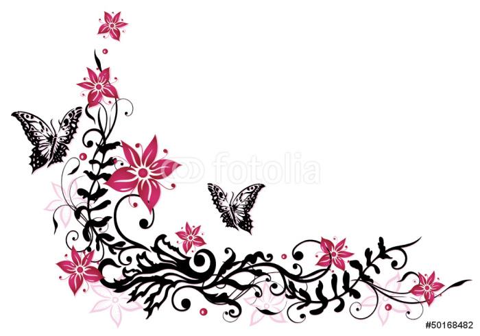 Fotomural marco del verano hojas hojas vid rosa negro for Mural de flores y mariposas