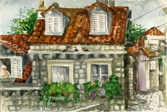 Quadro su tela piccola casa con il tetto di tegole a for Piccola casa su piani di fondazione