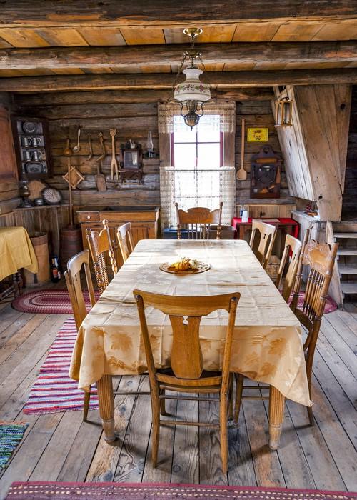 sticker table de salle manger et des chaises dans une cabane en rondins pixers nous. Black Bedroom Furniture Sets. Home Design Ideas