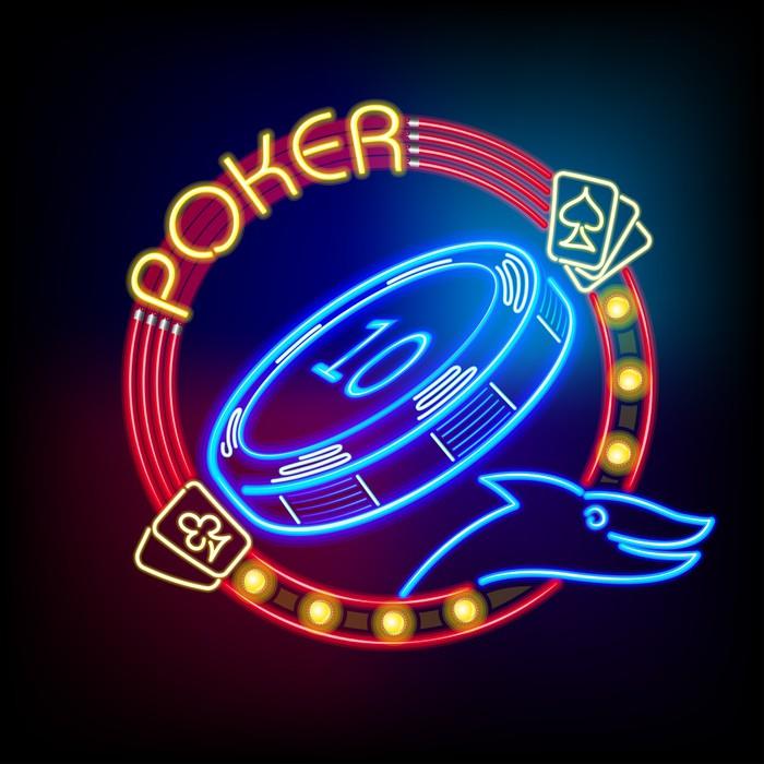 Vinylová Tapeta Poker Casino žeton v neonové světlo - Zábava