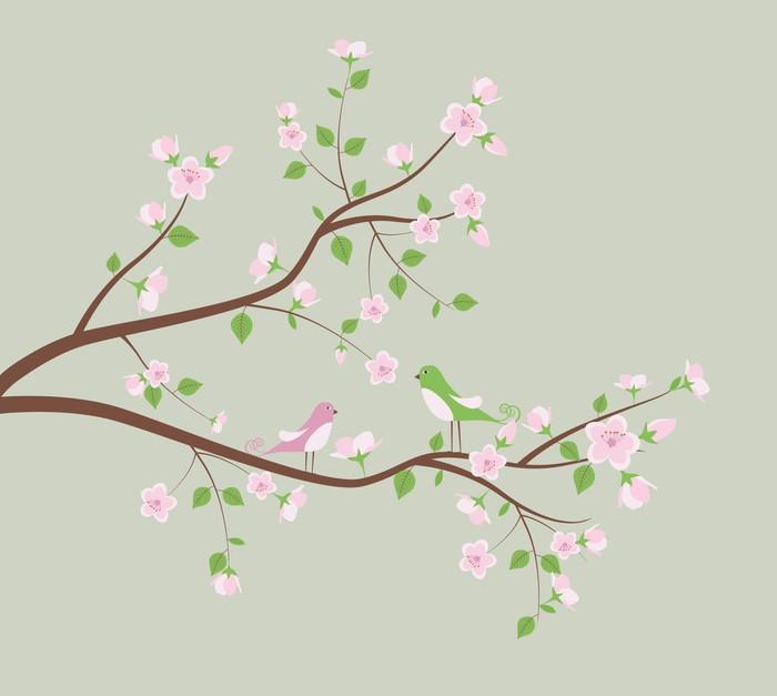 Vinylová Tapeta Jarní strom s ptáky - Roční období