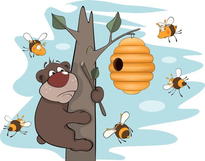 Vinylová Tapeta Medvídě a včely. Karikatura - Ostatní Ostatní