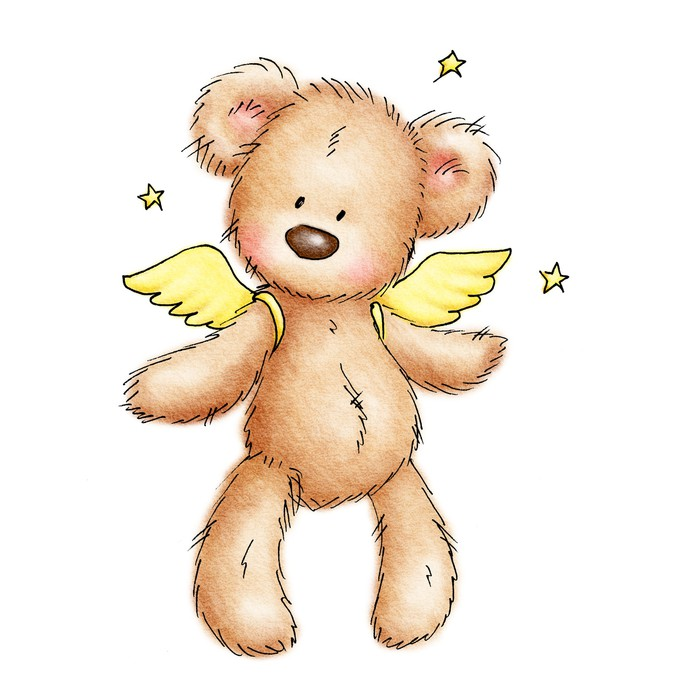 drawing of teddy bear with wings Wall Mural • Pixers® • We live to ...
