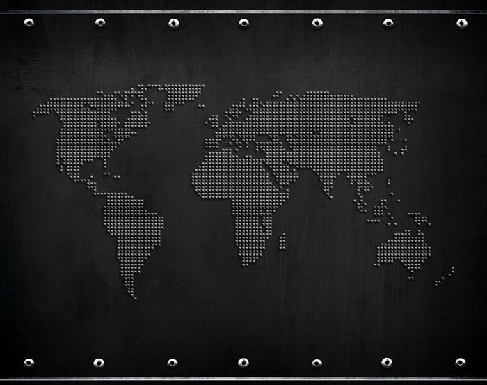 Vinylová Tapeta Plech s mapou světa -