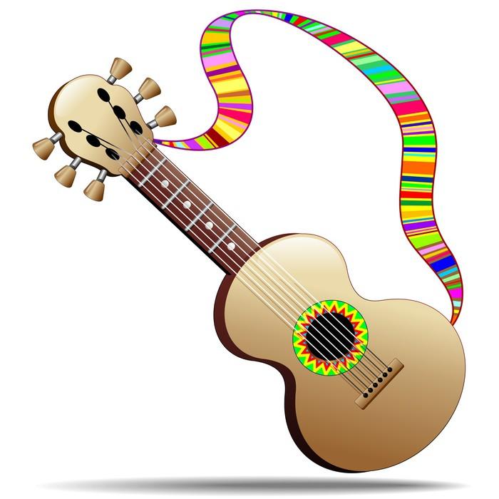 Cuadro en Lienzo Hippie fresca Guitarra de instrumentos musicales ...