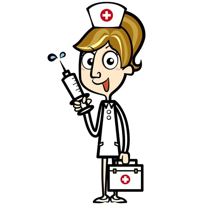 Vinilo Pixerstick Enfermera de dibujos animados con botiquín de ...