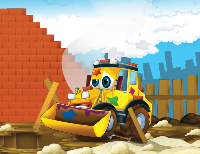 Fototapete Die Cartoon-Bagger - Illustration für die Kinder • Pixers ...