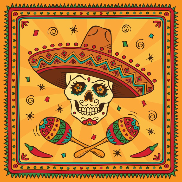 Mexican sugar skull Wall Mural • Pixers® • We live to change
