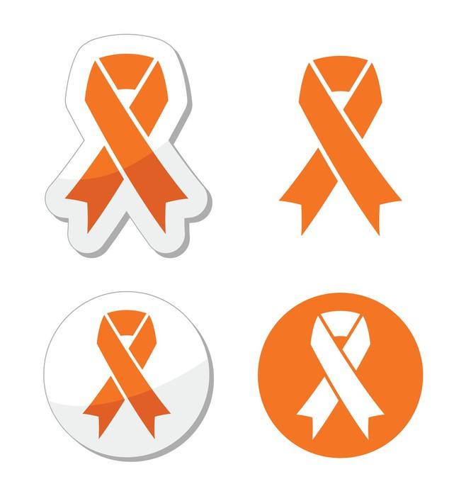 Orange Ribbon Leukemia Hunger Animal Rights Sign Sticker