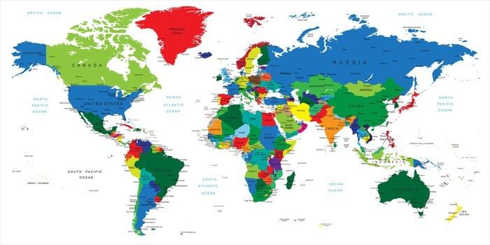 Carta da Parati in Vinile Mappa del mondo-paesi - Temi
