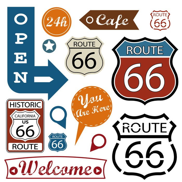 Route 66 Signs Symbol And Sticker Wall Mural Pixers We Live To