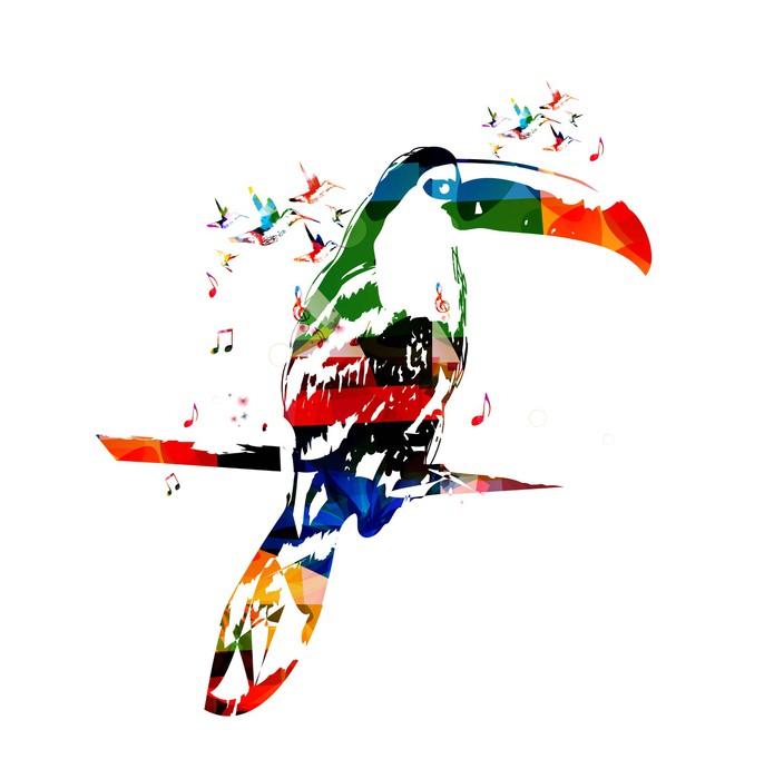 Vinylová Tapeta Barevné vektorové tukan pozadí s kolibříky - Jiné pocity