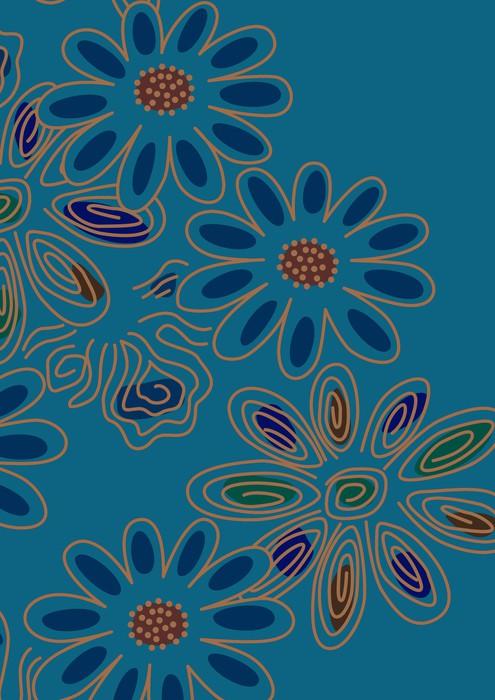 Vinyltapete Grafische Muster - Blumen