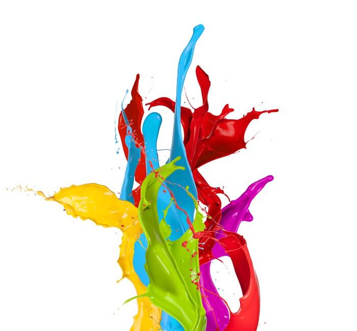 Vinilo pixerstick salpicaduras de pintura de colores aislados sobre fondo blanco pixers - Salpicaduras de pintura ...