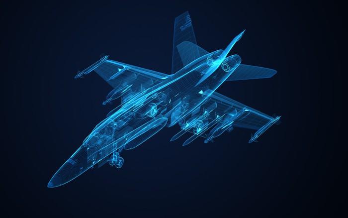 Fototapete 3d Drahtmodell Skizze von F-18 Hornet • Pixers® - Wir ...