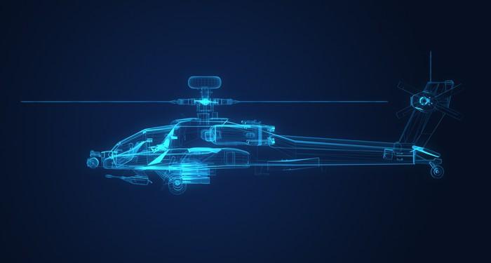 Aufkleber 3D-Drahtmodell Skizze des Apache-Hubschrauber • Pixers ...