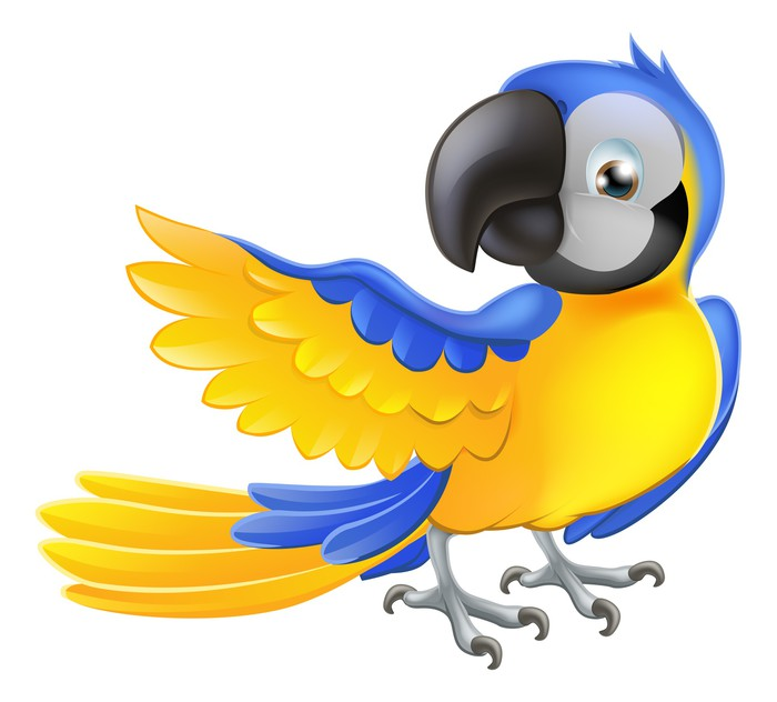 Cute blue and yellow parrot Wall Decal • Pixers® • We live to change