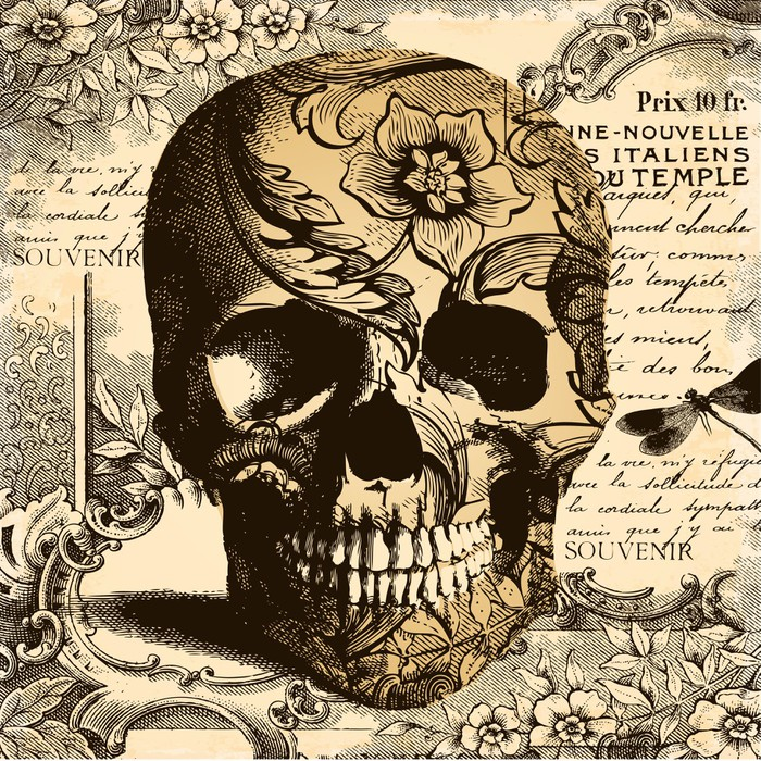 Vintage Skull Background Wall Mural Pixers 174 We Live To