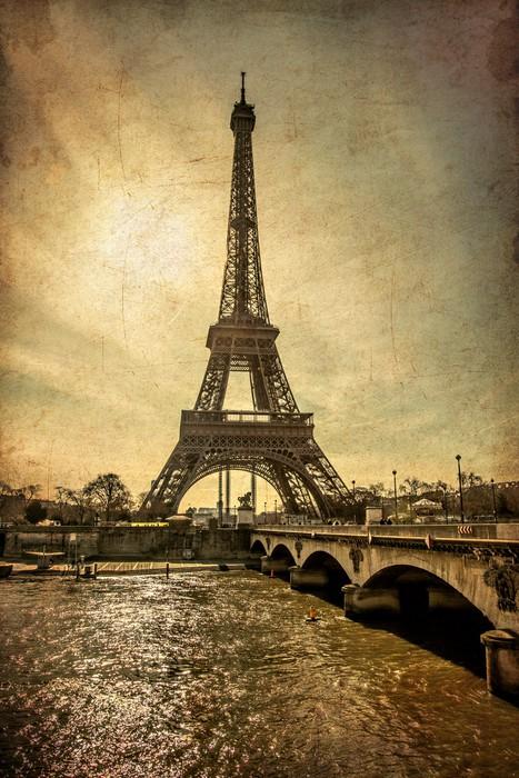 Vinylová Tapeta Torre Eiffel Stile vinobraní - Témata