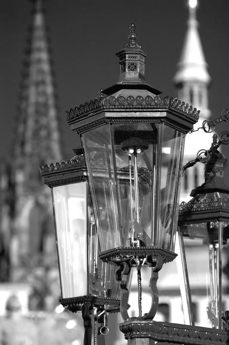 Vinylová Tapeta Černé a bílé vintage plynové lampy, Praha, Česká republika - Praha