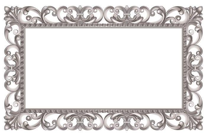 Quadro su tela cornice barocca traforata argento stile for Pochoir pour miroir